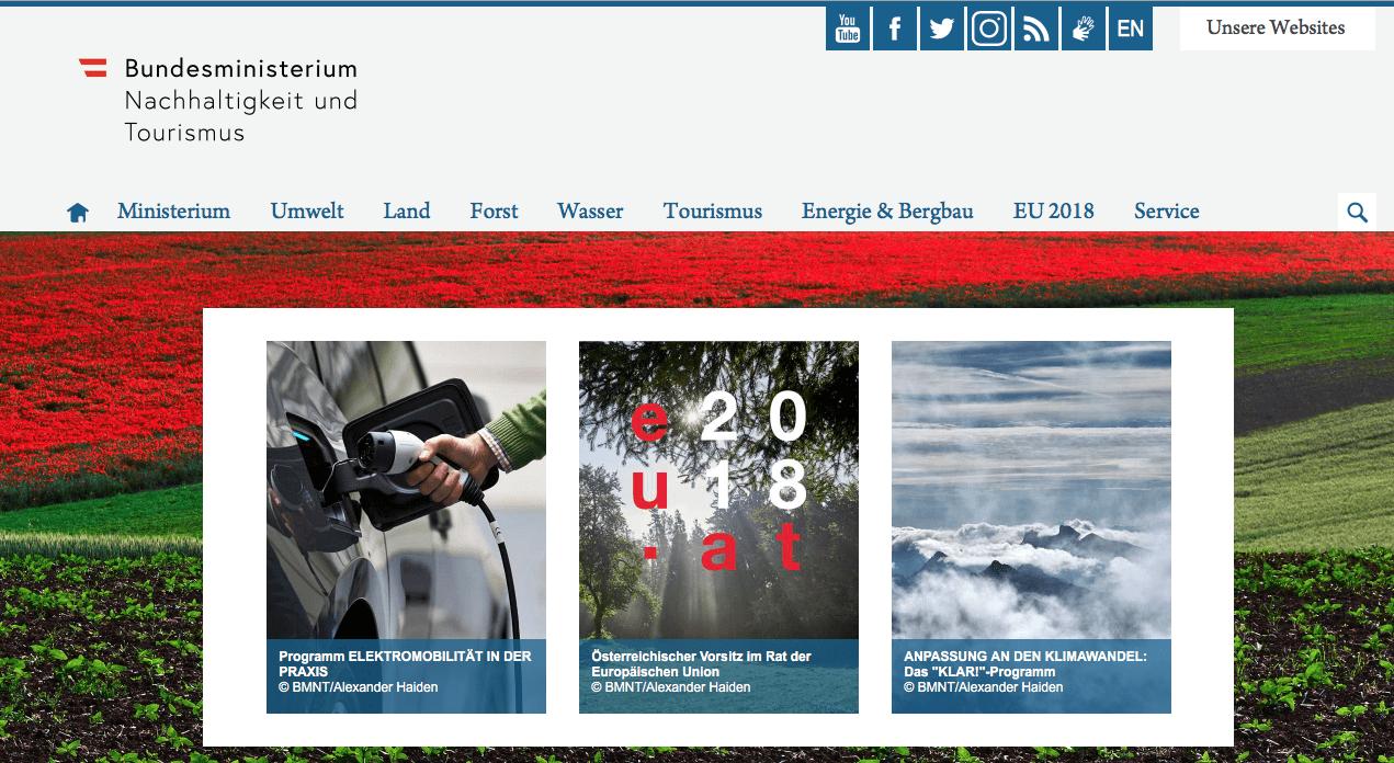 Bundesministerium - Nachhaltigkeit und Tourismus Website